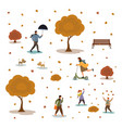 autumn set people in park vector image