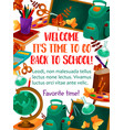 back to school stationery study poster vector image vector image