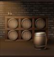 barrels for wine vector image vector image