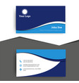 blue stylish wavy business card template vector image