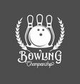 bowling emblem label badge and designe elements vector image vector image