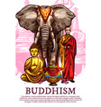 buddha monk vase and elephant vector image vector image