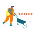 builder pushing wheelbarrow working on vector image