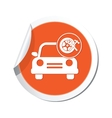 car with wheel and tools icon orange label vector image vector image