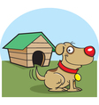 Cartoon Dog with a Dog House vector image vector image