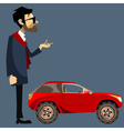 cartoon man in suit beside a small red SUV vector image vector image
