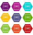chips icons set 9 vector image vector image
