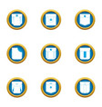 closed pocket icons set flat style vector image vector image
