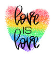 conceptual poster with lettering and rainbow heart vector image vector image