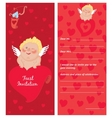 cupid with a letter invitation template valentines vector image vector image
