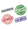 damaged textured hand service seal stamps vector image vector image