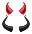 devils horns realistic red and black devil vector image