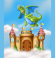 dragon flying over castle vector image vector image