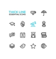 Education - Thick Single Line Icons Set vector image vector image