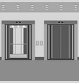 elevator cabin with open and closed doors vector image vector image