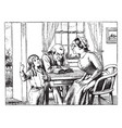 family at table woman vintage engraving vector image vector image
