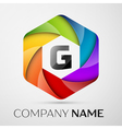 G Letter colorful logo in the hexagonal on grey vector image vector image