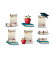 graduation card with set icons vector image