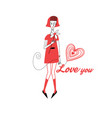 graphics in love with a girl vector image vector image