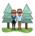 grated woman and man couple wearing glasses vector image vector image