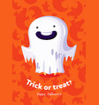 halloween poster trick or treat with ghost on vector image vector image