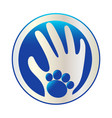 hand and paw dog logo vector image