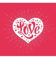 Hand lettering Love in white heart on a red vector image
