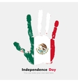 Handprint with the Flag of Mexico in grunge style vector image vector image