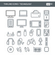 icons with technology objects vector image vector image