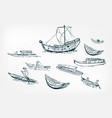 japanese boats ship sketch ink design elements vector image