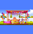 kids celebrate birthday on backyard vector image