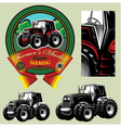 label with a tractor for livestock and crop vector image