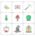 magic icon set wizard equipment vector image vector image