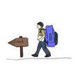 male student boy with very big school bag and vector image