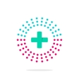 Medical logo with green cross and pharmacy vector image