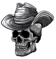 monochromatic cowboy skull vector image vector image