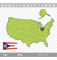 ohio flag and map vector image vector image
