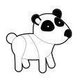 panda cartoon with black sections silhouette and vector image vector image
