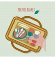 Picnic in park with dishes and cutlery vector image vector image