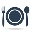 plate fork and spoon on white background vector image