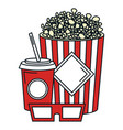 pop corn with soda and glasses 3d vector image vector image