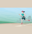 running woman on cityscape background vector image