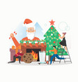 santa claus with candy cane people decorating vector image