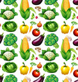 Seamless background with many vegetables vector image
