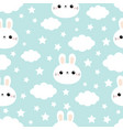 seamless pattern rabbit bunny hare face cloud in vector image vector image