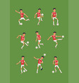 set soccer or football player in different vector image