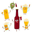 Smiling funny beer bottle glass can mug hop vector image