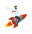successful businessman on a rocket start up vector image