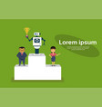 successul robot standing on top of winners podium vector image