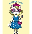 T-shirt Graphics with cute lady-cat in summer vector image
